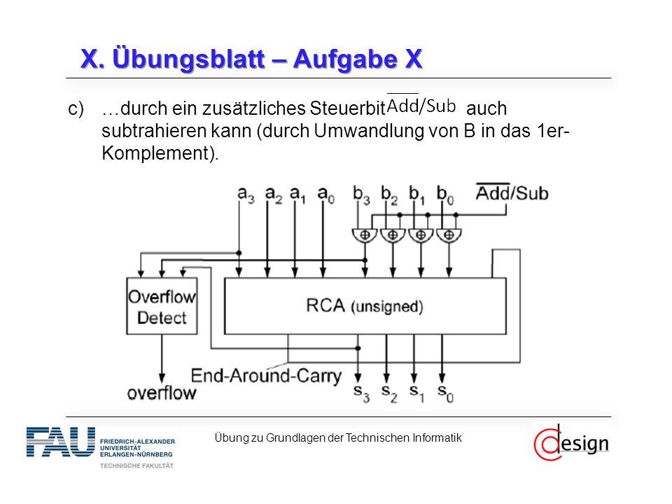 X. Übungsblatt – Aufgabe X c)…durch ein zusätzliches Steuerbit auch subtrahieren kann (durch Umwandlung von B in das 1er- Komplement). Übung zu Grundl