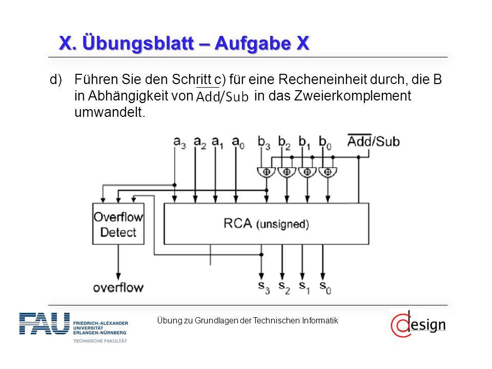 X. Übungsblatt – Aufgabe X d)Führen Sie den Schritt c) für eine Recheneinheit durch, die B in Abhängigkeit von in das Zweierkomplement umwandelt. Übun