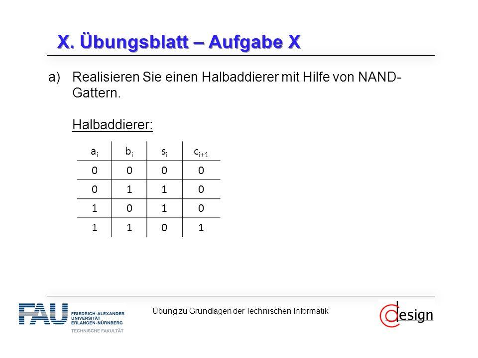 X. Übungsblatt – Aufgabe X a)Realisieren Sie einen Halbaddierer mit Hilfe von NAND- Gattern. Halbaddierer: Übung zu Grundlagen der Technischen Informa