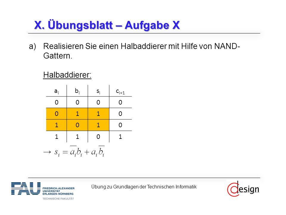 X. Übungsblatt – Aufgabe X a)Realisieren Sie einen Halbaddierer mit Hilfe von NAND- Gattern. Halbaddierer: → Übung zu Grundlagen der Technischen Infor