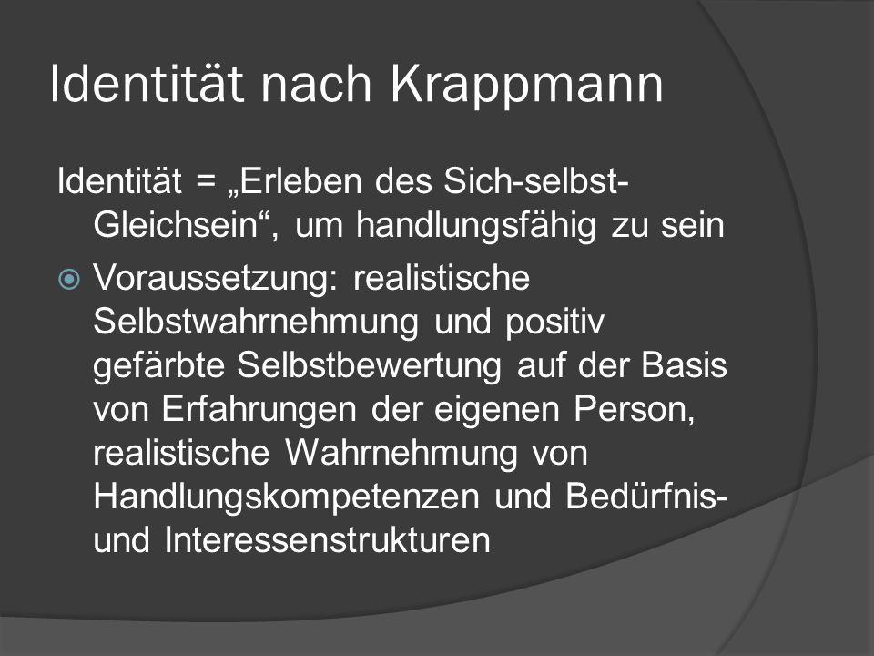 """Identität nach Krappmann Identität = """"Erleben des Sich-selbst- Gleichsein , um handlungsfähig zu sein  Voraussetzung: realistische Selbstwahrnehmung und positiv gefärbte Selbstbewertung auf der Basis von Erfahrungen der eigenen Person, realistische Wahrnehmung von Handlungskompetenzen und Bedürfnis- und Interessenstrukturen"""