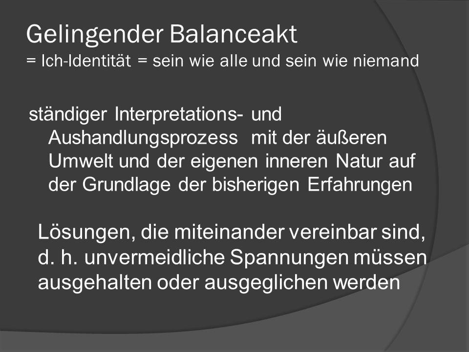 Gelingender Balanceakt = Ich-Identität = sein wie alle und sein wie niemand ständiger Interpretations- und Aushandlungsprozess mit der äußeren Umwelt und der eigenen inneren Natur auf der Grundlage der bisherigen Erfahrungen Lösungen, die miteinander vereinbar sind, d.