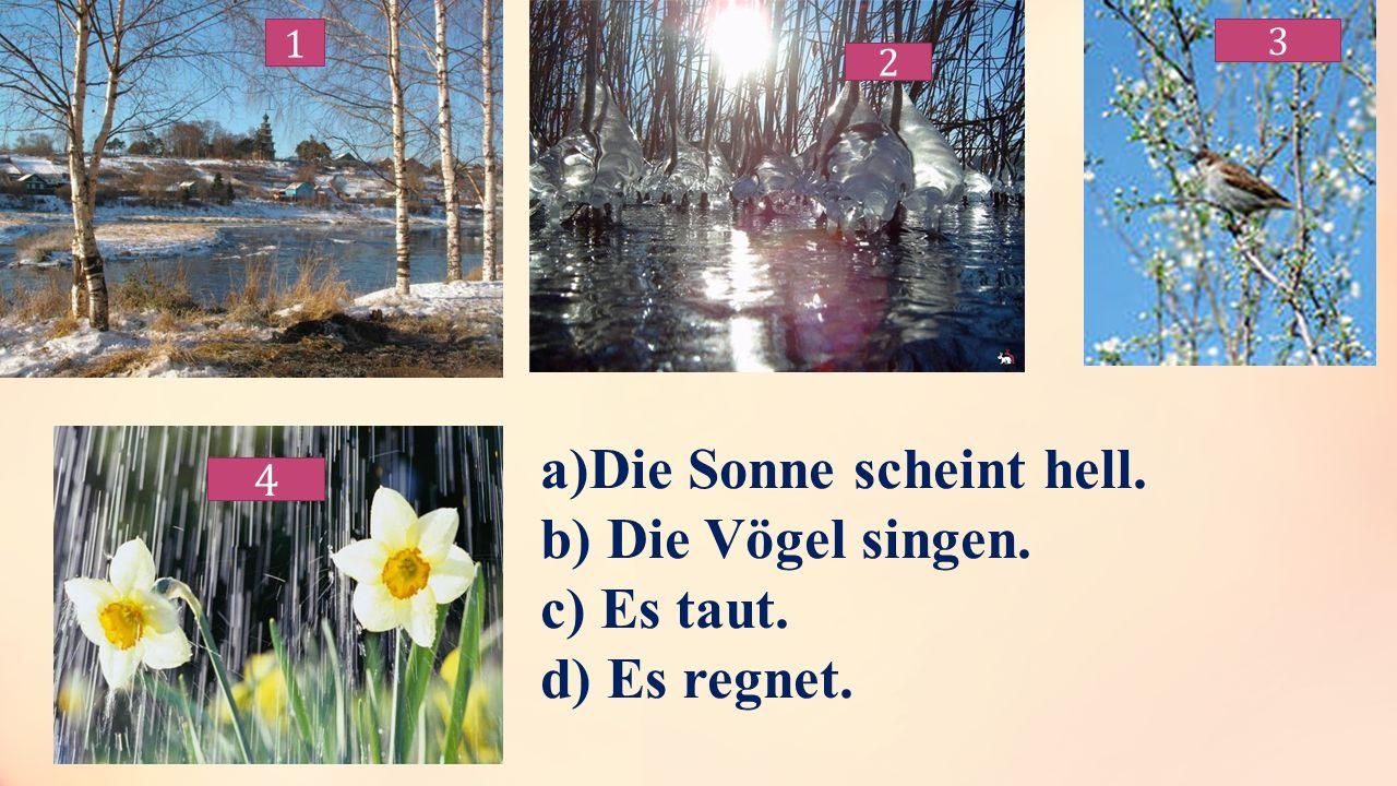 1 1 2 3 4 a)Die Sonne scheint hell. b) Die Vögel singen. c) Es taut. d) Es regnet.