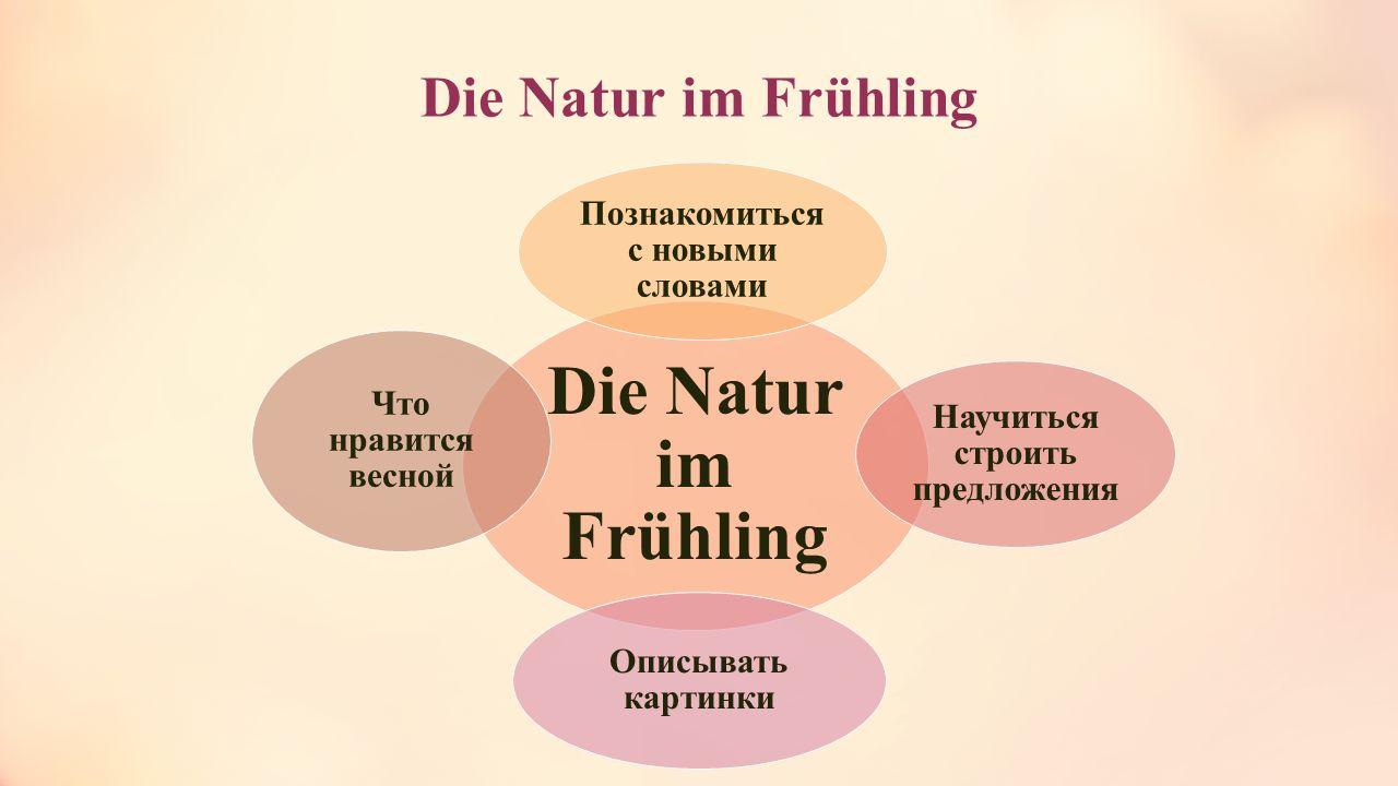 Die Natur im Frühling Познакомиться с новыми словами Научиться строить предложения Описывать картинки Что нравится весной