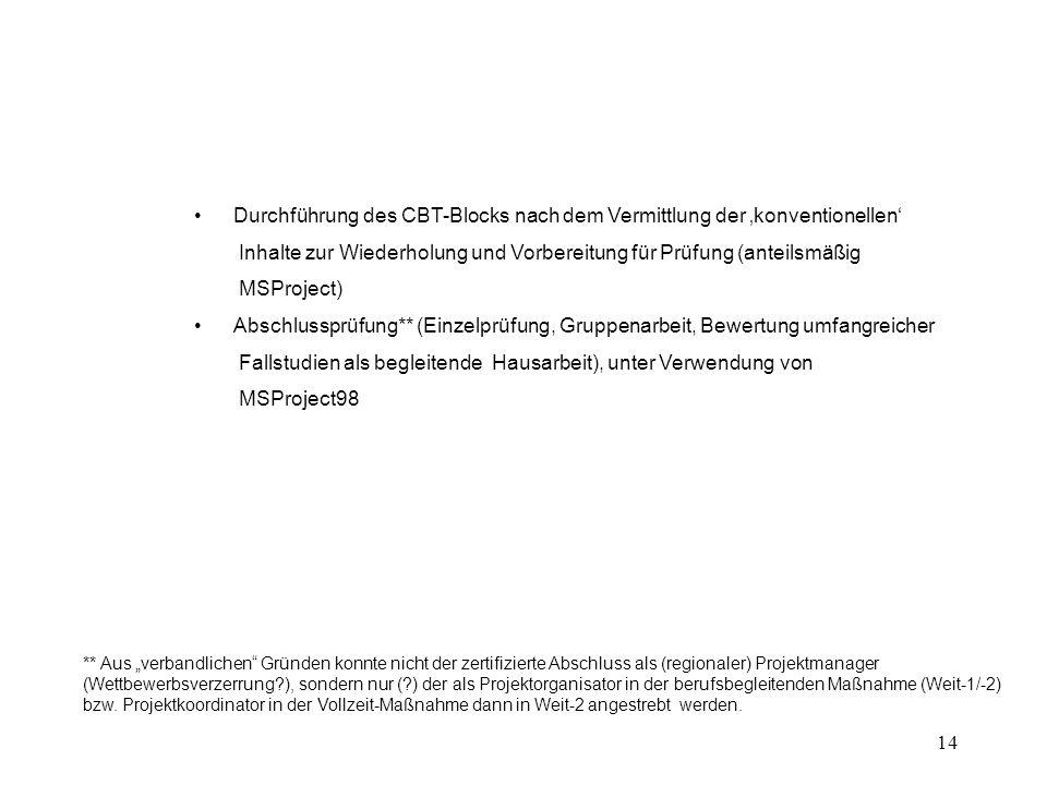 """14 Durchführung des CBT-Blocks nach dem Vermittlung der 'konventionellen' Inhalte zur Wiederholung und Vorbereitung für Prüfung (anteilsmäßig MSProject) Abschlussprüfung** (Einzelprüfung, Gruppenarbeit, Bewertung umfangreicher Fallstudien als begleitende Hausarbeit), unter Verwendung von MSProject98 ** Aus """"verbandlichen Gründen konnte nicht der zertifizierte Abschluss als (regionaler) Projektmanager (Wettbewerbsverzerrung ), sondern nur ( ) der als Projektorganisator in der berufsbegleitenden Maßnahme (Weit-1/-2) bzw."""