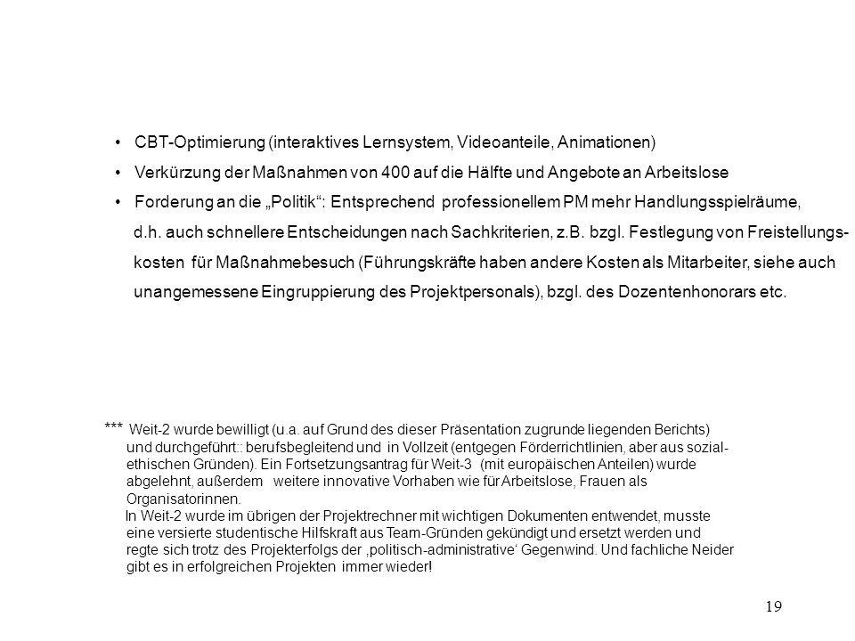 """19 CBT-Optimierung (interaktives Lernsystem, Videoanteile, Animationen) Verkürzung der Maßnahmen von 400 auf die Hälfte und Angebote an Arbeitslose Forderung an die """"Politik : Entsprechend professionellem PM mehr Handlungsspielräume, d.h."""