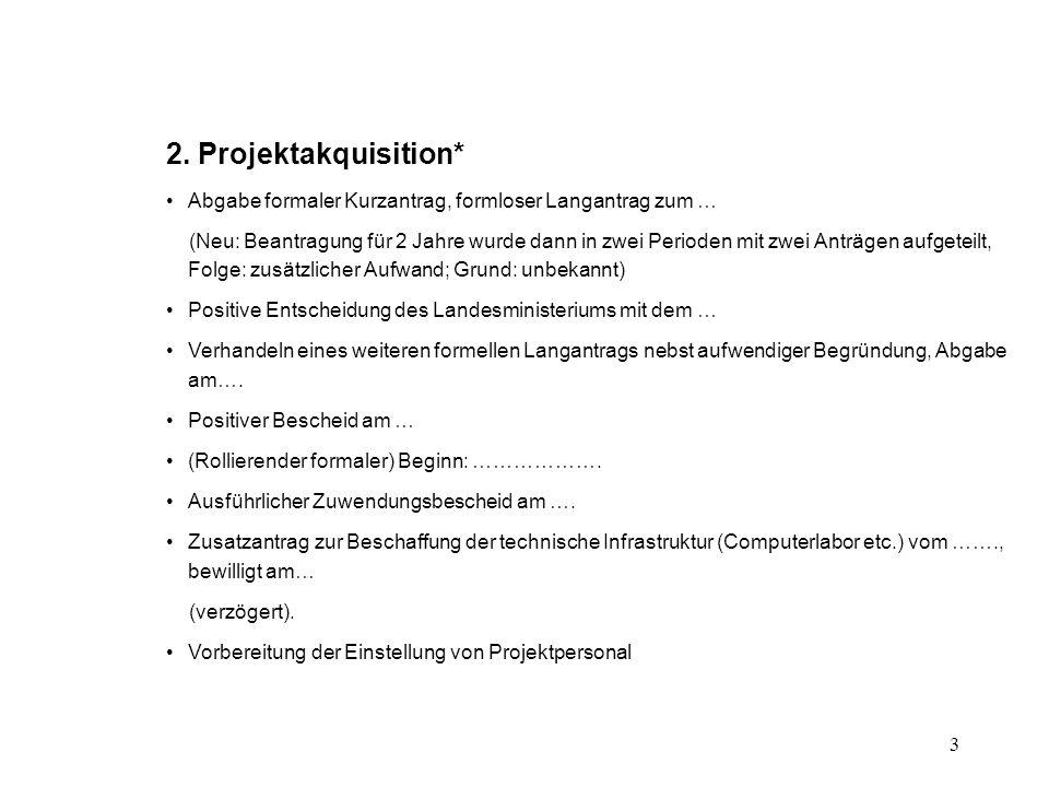 3 2. Projektakquisition* Abgabe formaler Kurzantrag, formloser Langantrag zum … (Neu: Beantragung für 2 Jahre wurde dann in zwei Perioden mit zwei Ant