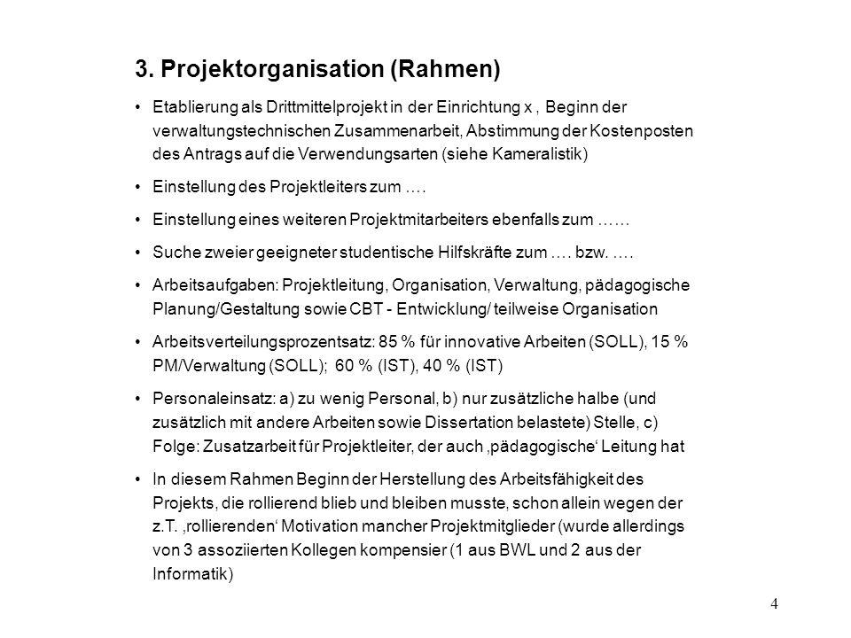 4 3. Projektorganisation (Rahmen) Etablierung als Drittmittelprojekt in der Einrichtung x, Beginn der verwaltungstechnischen Zusammenarbeit, Abstimmun