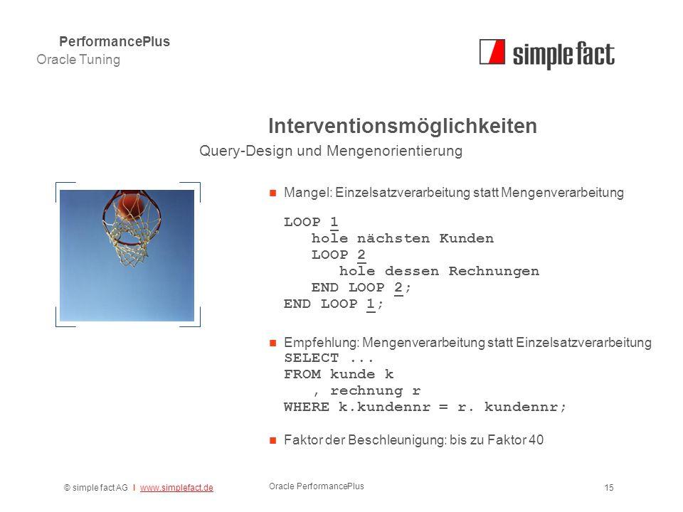 © simple fact AG I www.simplefact.dewww.simplefact.de Oracle PerformancePlus 15 Interventionsmöglichkeiten Mangel: Einzelsatzverarbeitung statt Mengen