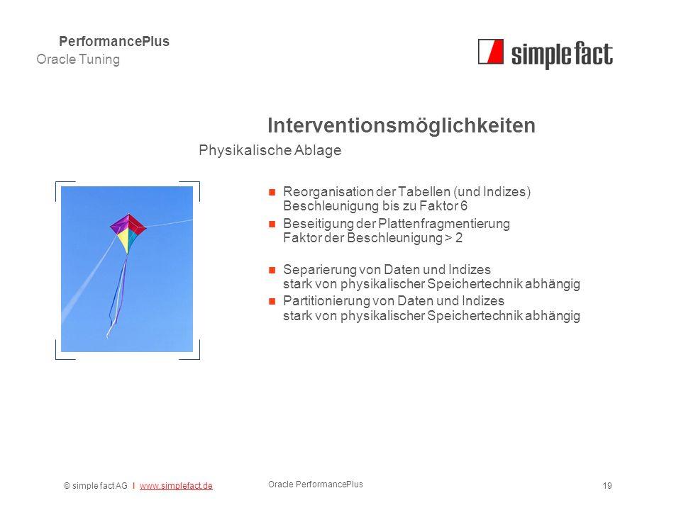 © simple fact AG I www.simplefact.dewww.simplefact.de Oracle PerformancePlus 19 Interventionsmöglichkeiten Reorganisation der Tabellen (und Indizes) B
