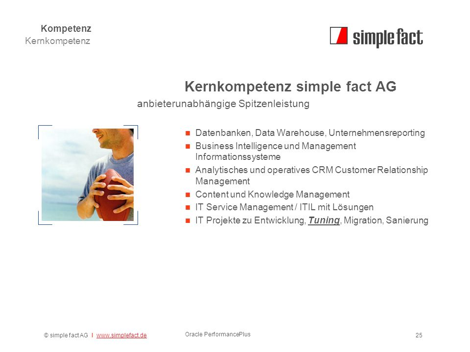 © simple fact AG I www.simplefact.dewww.simplefact.de Oracle PerformancePlus 25 Kernkompetenz simple fact AG Datenbanken, Data Warehouse, Unternehmensreporting Business Intelligence und Management Informationssysteme Analytisches und operatives CRM Customer Relationship Management Content und Knowledge Management IT Service Management / ITIL mit Lösungen IT Projekte zu Entwicklung, Tuning, Migration, Sanierung Kernkompetenz Kompetenz anbieterunabhängige Spitzenleistung