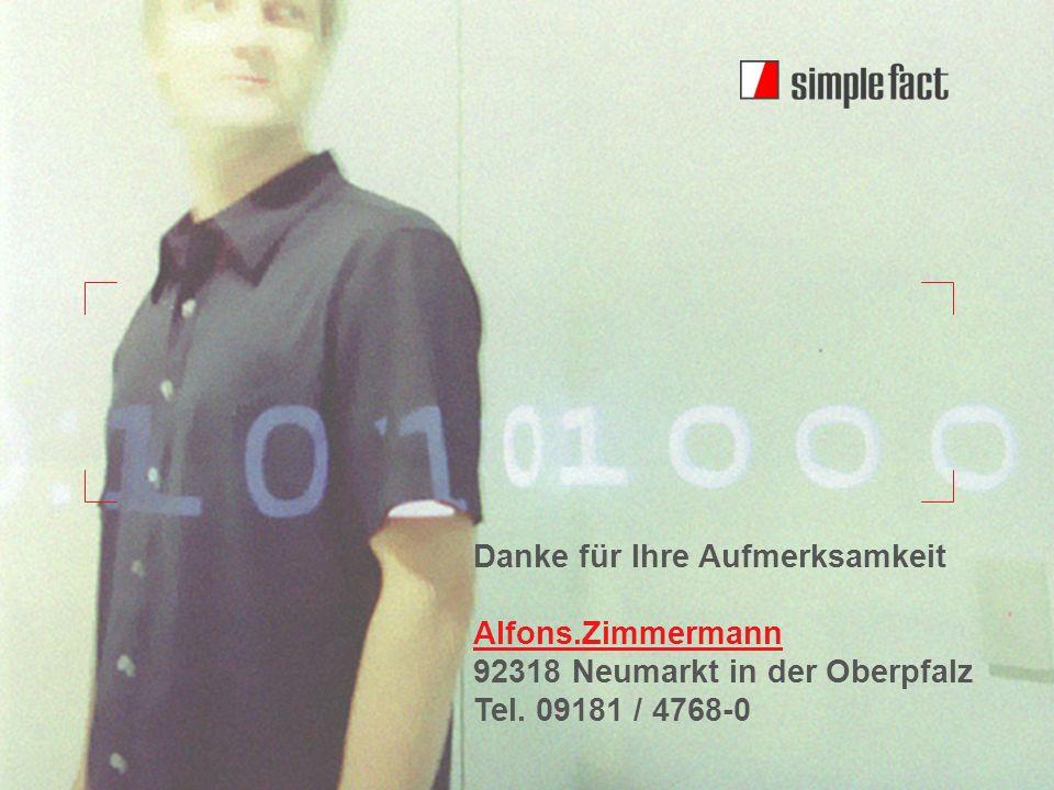 © simple fact AG I www.simplefact.dewww.simplefact.de Oracle PerformancePlus 26 Danke für Ihre Aufmerksamkeit Alfons.Zimmermann 92318 Neumarkt in der