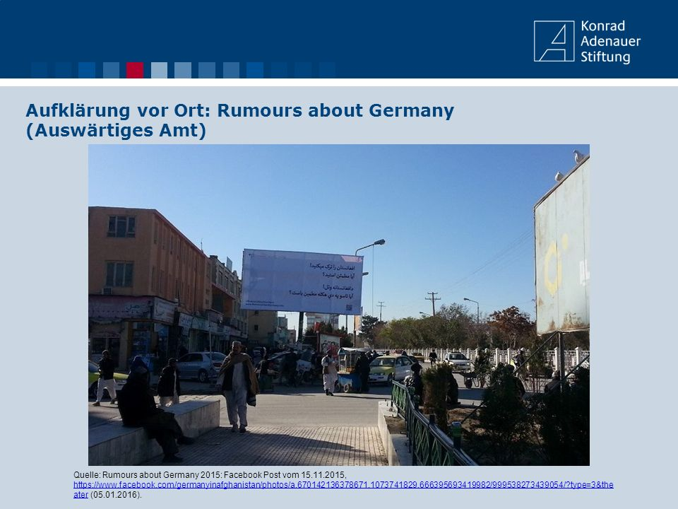 Aufklärung vor Ort: Rumours about Germany (Auswärtiges Amt) Quelle: Rumours about Germany 2015: Facebook Post vom 15.11.2015, https://www.facebook.com