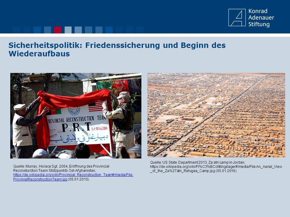 Sicherheitspolitik: Friedenssicherung und Beginn des Wiederaufbaus Quelle: US State Department 2013, Za'atri camp in Jordan, https://de.wikipedia.org/
