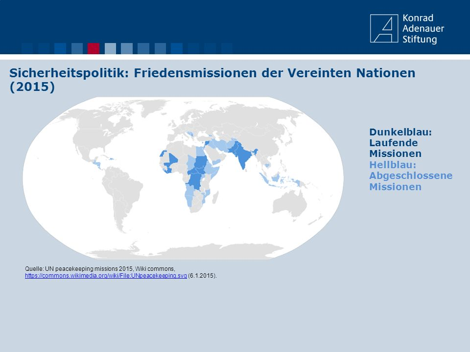 Sicherheitspolitik: Friedensmissionen der Vereinten Nationen (2015) Quelle: UN peacekeeping missions 2015, Wiki commons, https://commons.wikimedia.org