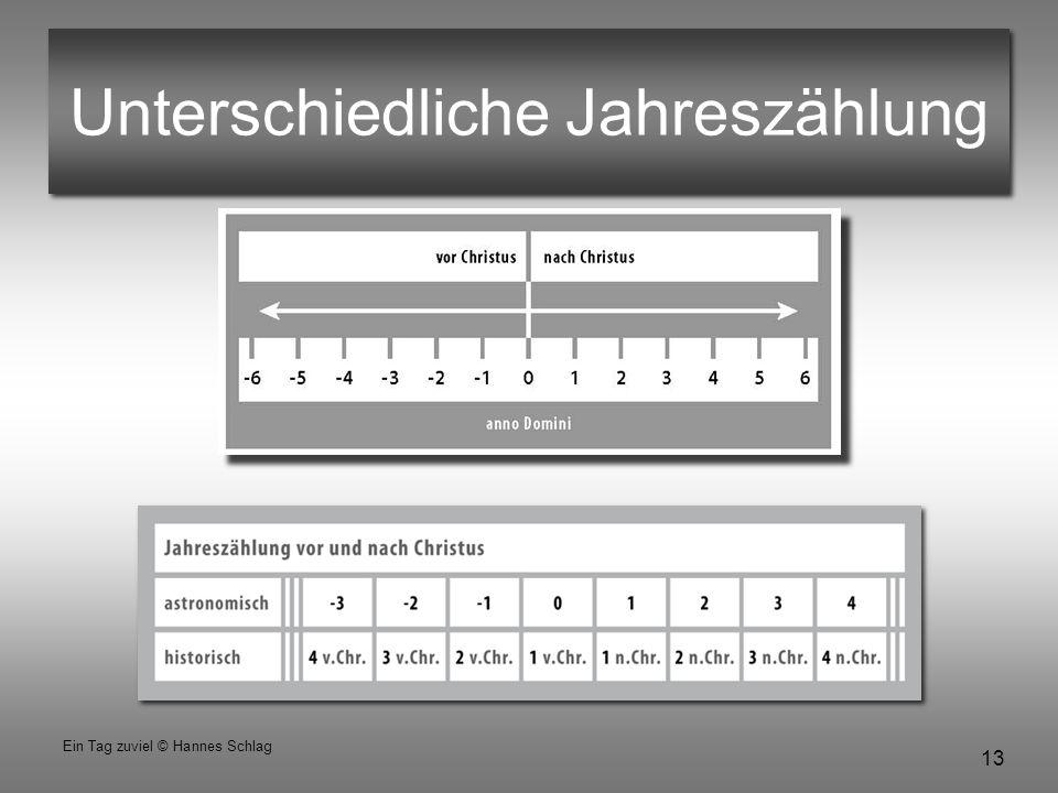 13 Ein Tag zuviel © Hannes Schlag Unterschiedliche Jahreszählung