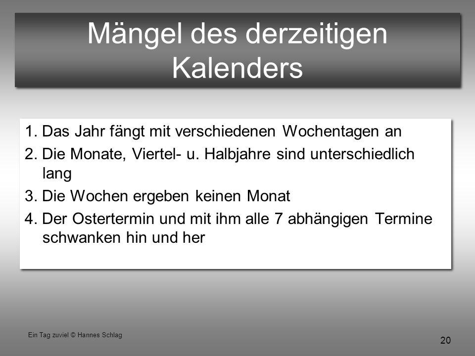 20 Ein Tag zuviel © Hannes Schlag Mängel des derzeitigen Kalenders 1. Das Jahr fängt mit verschiedenen Wochentagen an 2. Die Monate, Viertel- u. Halbj