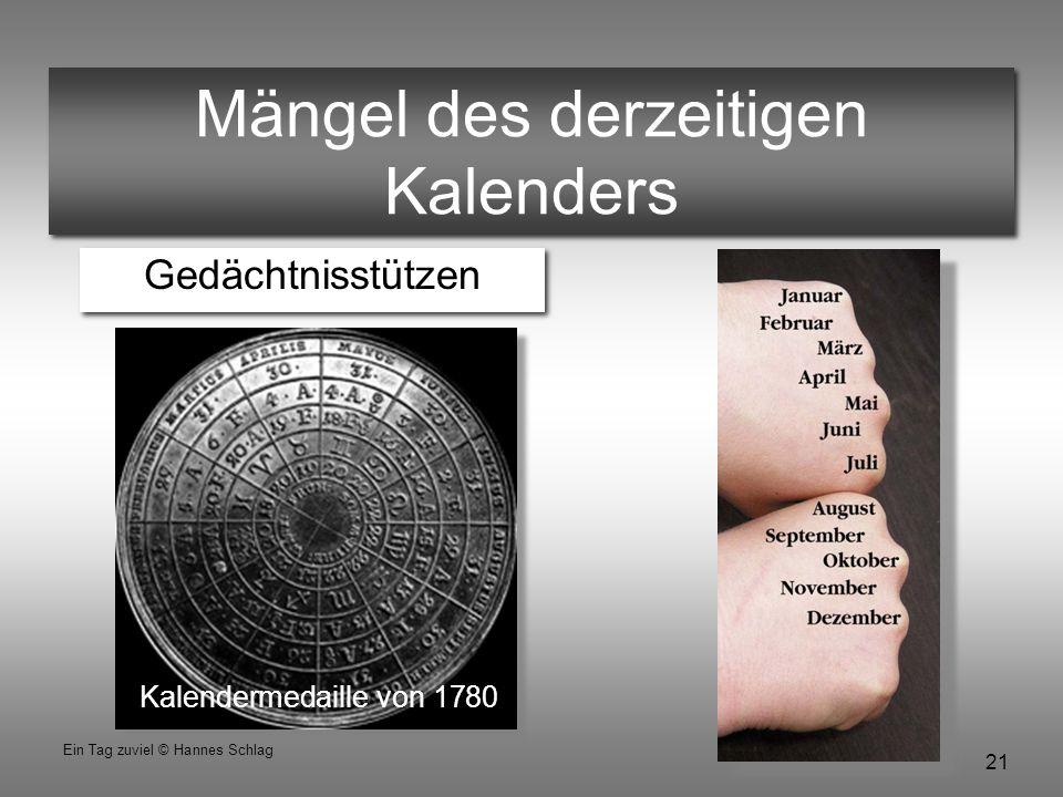 21 Ein Tag zuviel © Hannes Schlag Mängel des derzeitigen Kalenders Gedächtnisstützen Kalendermedaille von 1780