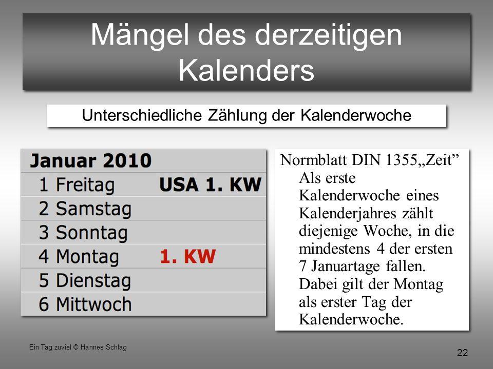 """22 Ein Tag zuviel © Hannes Schlag Mängel des derzeitigen Kalenders Normblatt DIN 1355""""Zeit"""" Als erste Kalenderwoche eines Kalenderjahres zählt diejeni"""