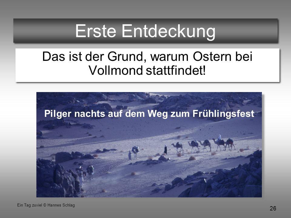 26 Ein Tag zuviel © Hannes Schlag Erste Entdeckung Das ist der Grund, warum Ostern bei Vollmond stattfindet! Pilger nachts auf dem Weg zum Frühlingsfe