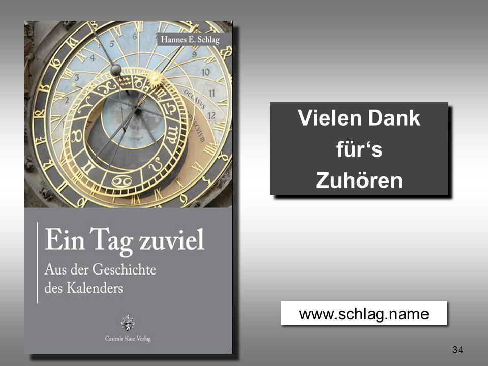 34 Ein Tag zuviel © Hannes Schlag Vielen Dank für's Zuhören Vielen Dank für's Zuhören www.schlag.name