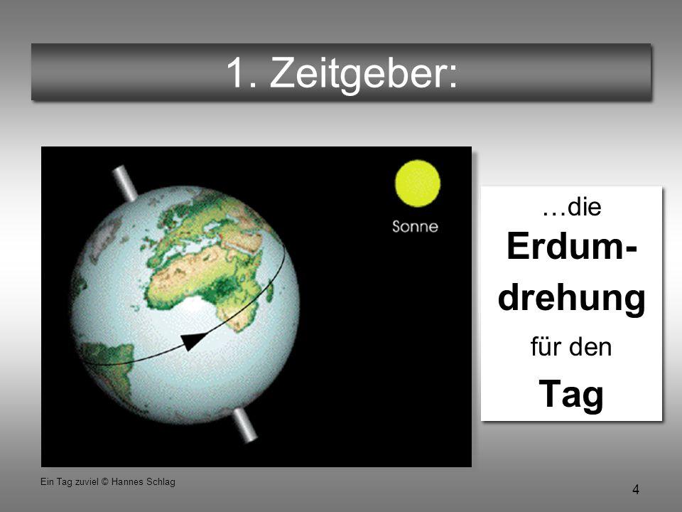 4 Ein Tag zuviel © Hannes Schlag 1. Zeitgeber: …die Erdum- drehung für den Tag