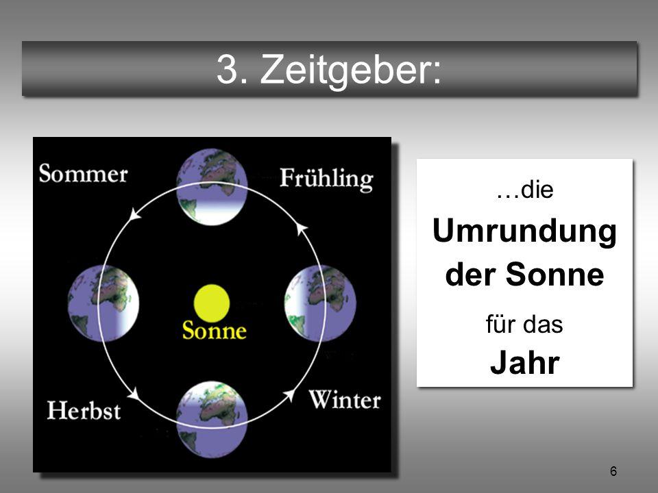 6 Ein Tag zuviel © Hannes Schlag 3. Zeitgeber: …die Umrundung der Sonne für das Jahr …die Umrundung der Sonne für das Jahr