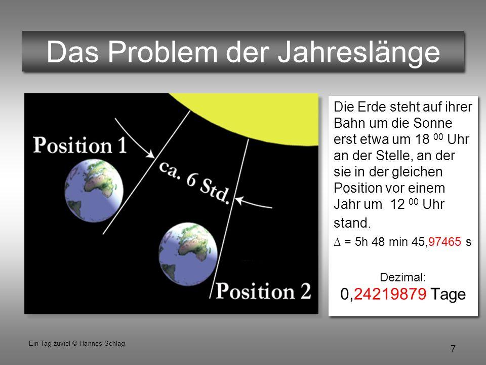 8 Ein Tag zuviel © Hannes Schlag Das Mondjahr Der dritte Zeitgeber, der Mond ist leider noch weniger brauchbar, weil er mit seinen 12 Umläufen nur auf 354 Tage im Jahr kommt.