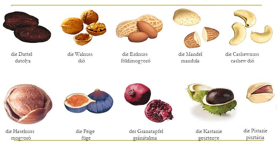 die Dattel datolya die Walnuss dió die Erdnuss földimogyoró die Mandel mandula die Cashewnuss cashew dió die Haselnuss mogyoró die Feige füge der Granatapfel gránátalma die Kastanie gesztenye die Pistazie pisztácia