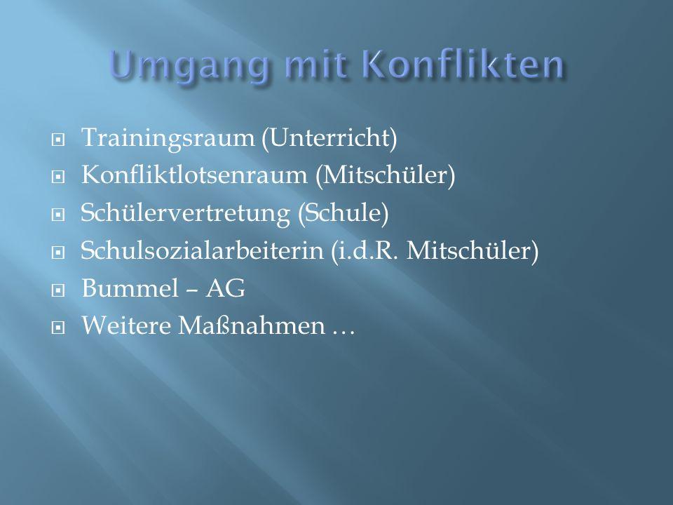  Trainingsraum (Unterricht)  Konfliktlotsenraum (Mitschüler)  Schülervertretung (Schule)  Schulsozialarbeiterin (i.d.R. Mitschüler)  Bummel – AG