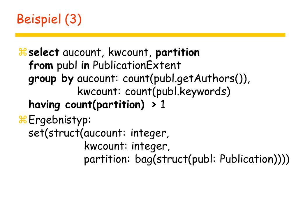 Definitionen zdefine [query] query-name [ params ] as query yparams = ( type identifier (, type identifier )* ) zdefine extent extent-name class-name