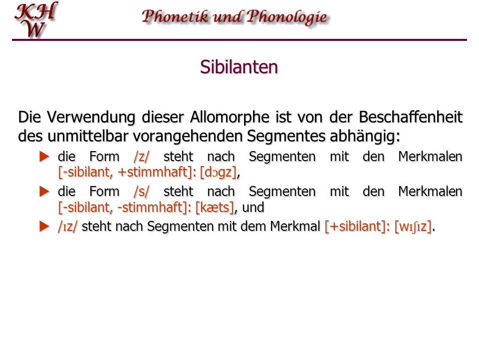 Sibilanten Diese Lautklasse spielt bei der Beschreibung der Pluralbildung im Englischen eine wichtige Rolle.