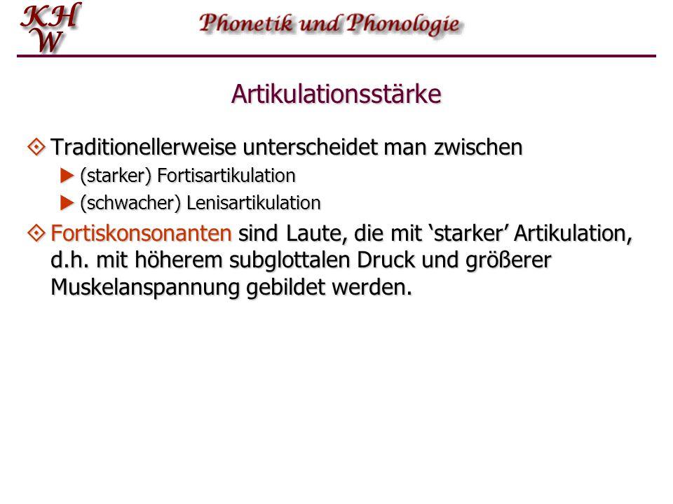 Artikulationsstärke Im Englischen wie im Deutschen wird die Opposition zwischen so genannten stimmlosen und stimmhaften Lauten nicht ausschließlich durch die An- oder Abwesen- heit des Stimmtons unterschieden.