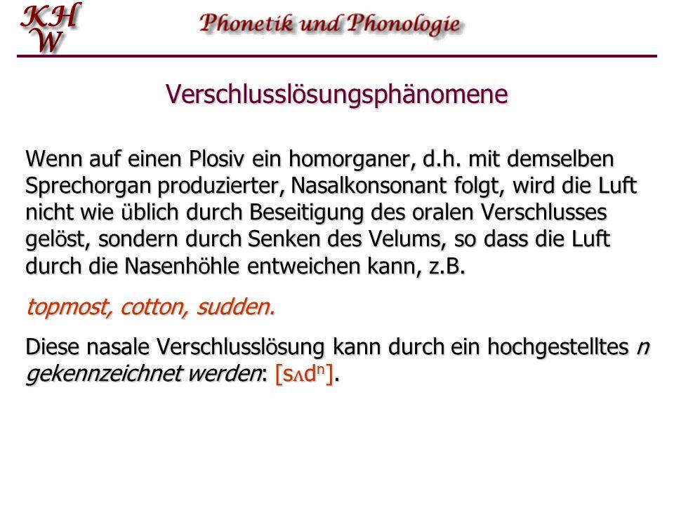 Verschlusslösungsphänomene In einer Aufeinanderfolge von zwei Plosiven erf ä hrt der erste keine h ö rbare L ö sung, z.B.