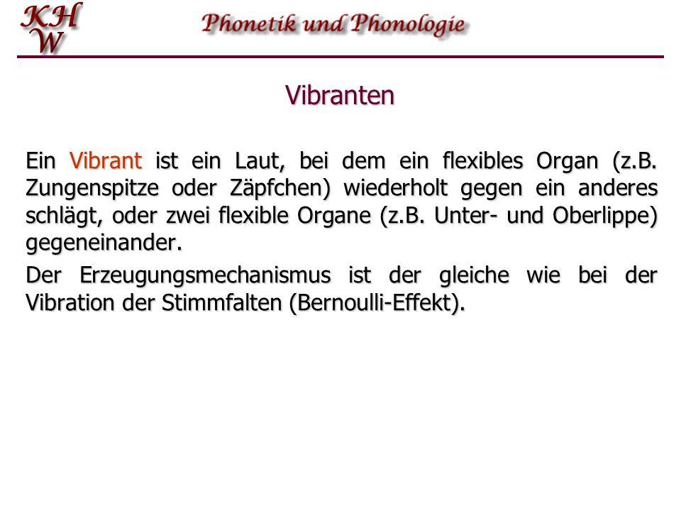 Vibrationslaute Ein weiterer Typ von Verengungslauten wird durch die Vibranten (engl.