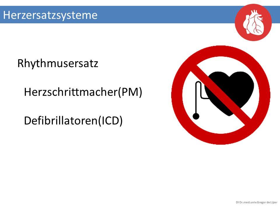 Herzersatzsysteme DI Dr.med.univ.Gregor de Lijzer Herzschrittmacher(PM) Defibrillatoren(ICD) Rhythmusersatz