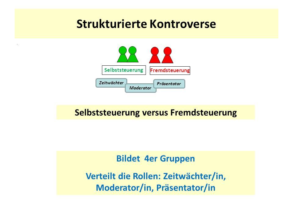 Strukturierte Kontroverse. Selbststeuerung versus Fremdsteuerung Bildet 4er Gruppen Verteilt die Rollen: Zeitwächter/in, Moderator/in, Präsentator/in