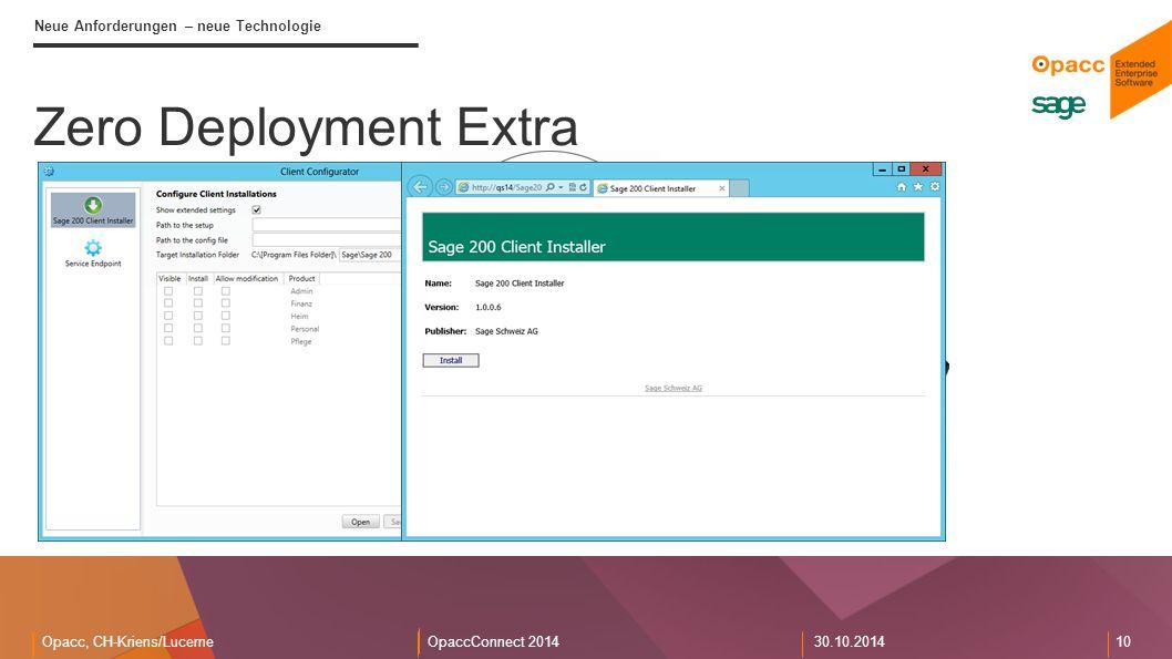 Opacc, CH-Kriens/LucerneOpaccConnect 201430.10.2014 10 Neue Anforderungen – neue Technologie Zero Deployment Extra Sage 200 Benutzer