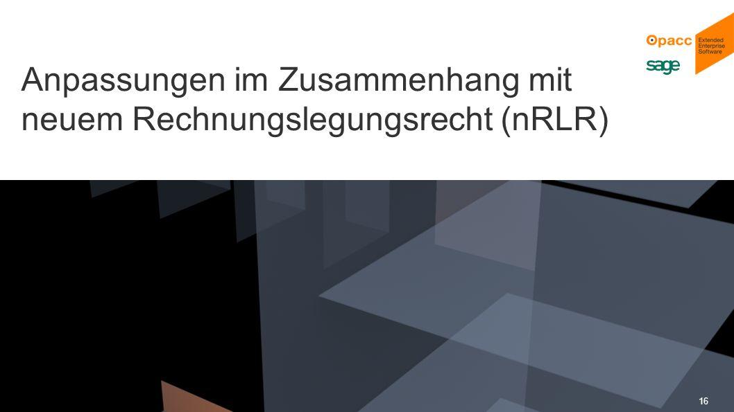 Opacc, CH-Kriens/LucerneOpaccConnect 201430.10.2014 16 Anpassungen im Zusammenhang mit neuem Rechnungslegungsrecht (nRLR)