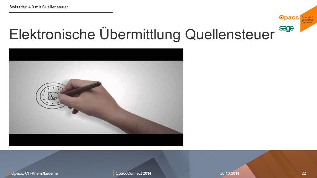 Opacc, CH-Kriens/LucerneOpaccConnect 201430.10.2014 22 Elektronische Übermittlung Quellensteuer Swissdec 4.0 mit Quellensteuer