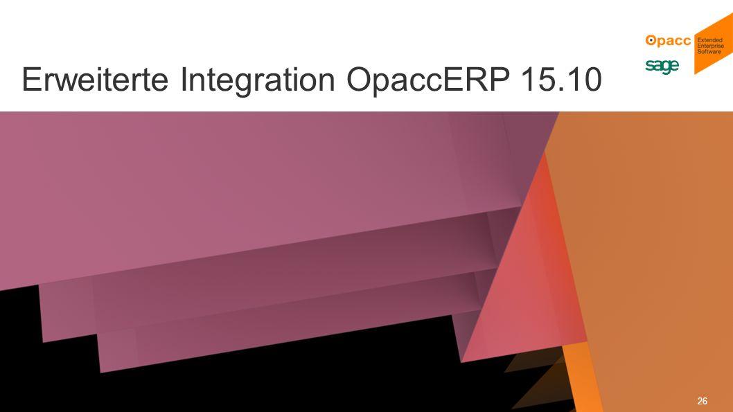 Opacc, CH-Kriens/LucerneOpaccConnect 201430.10.2014 26 Erweiterte Integration OpaccERP 15.10