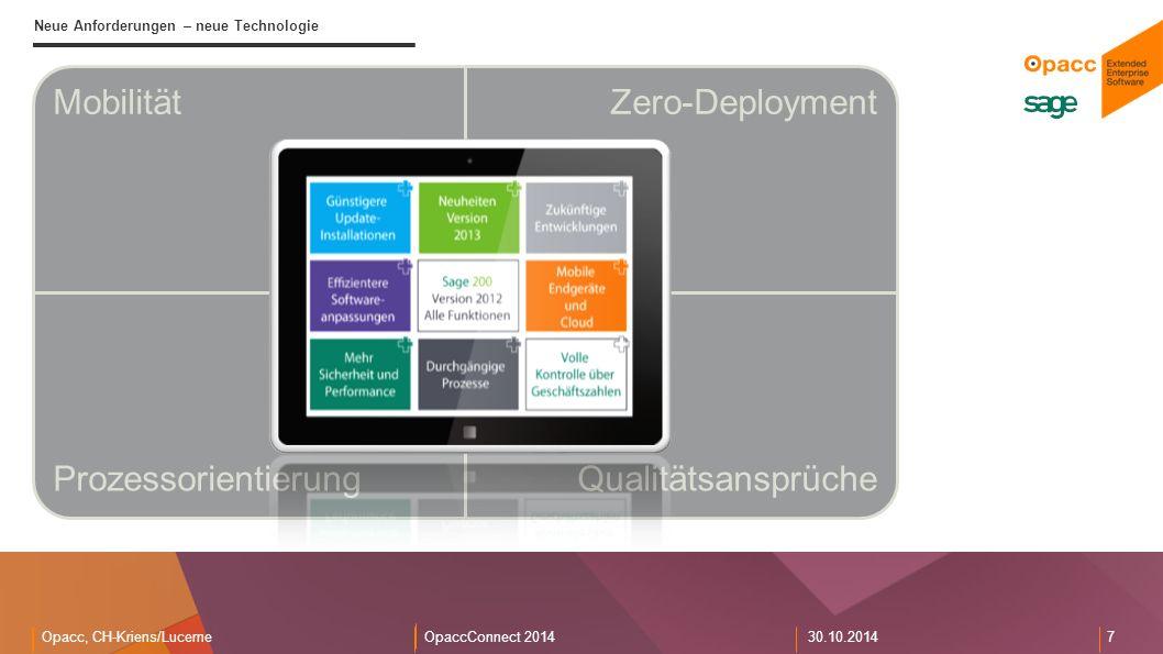 Opacc, CH-Kriens/LucerneOpaccConnect 201430.10.2014 7 Neue Anforderungen – neue Technologie MobilitätZero-Deployment ProzessorientierungQualitätsansprüche