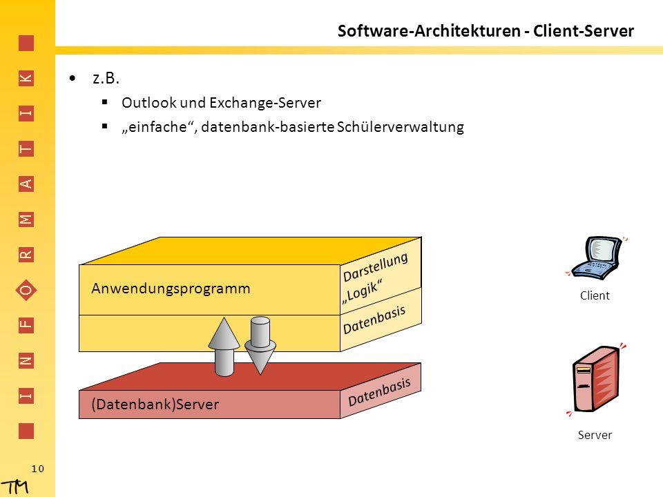 """I N F O R M A T I K 10 (Datenbank)Server Datenbasis Darstellung Anwendungsprogramm """"Logik"""" Datenbasis Software-Architekturen - Client-Server z.B.  Ou"""