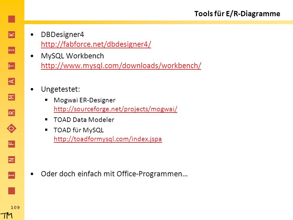 I N F O R M A T I K 109 Tools für E/R-Diagramme DBDesigner4 http://fabforce.net/dbdesigner4/ http://fabforce.net/dbdesigner4/ MySQL Workbench http://www.mysql.com/downloads/workbench/ http://www.mysql.com/downloads/workbench/ Ungetestet:  Mogwai ER-Designer http://sourceforge.net/projects/mogwai/ http://sourceforge.net/projects/mogwai/  TOAD Data Modeler  TOAD für MySQL http://toadformysql.com/index.jspa http://toadformysql.com/index.jspa Oder doch einfach mit Office-Programmen…