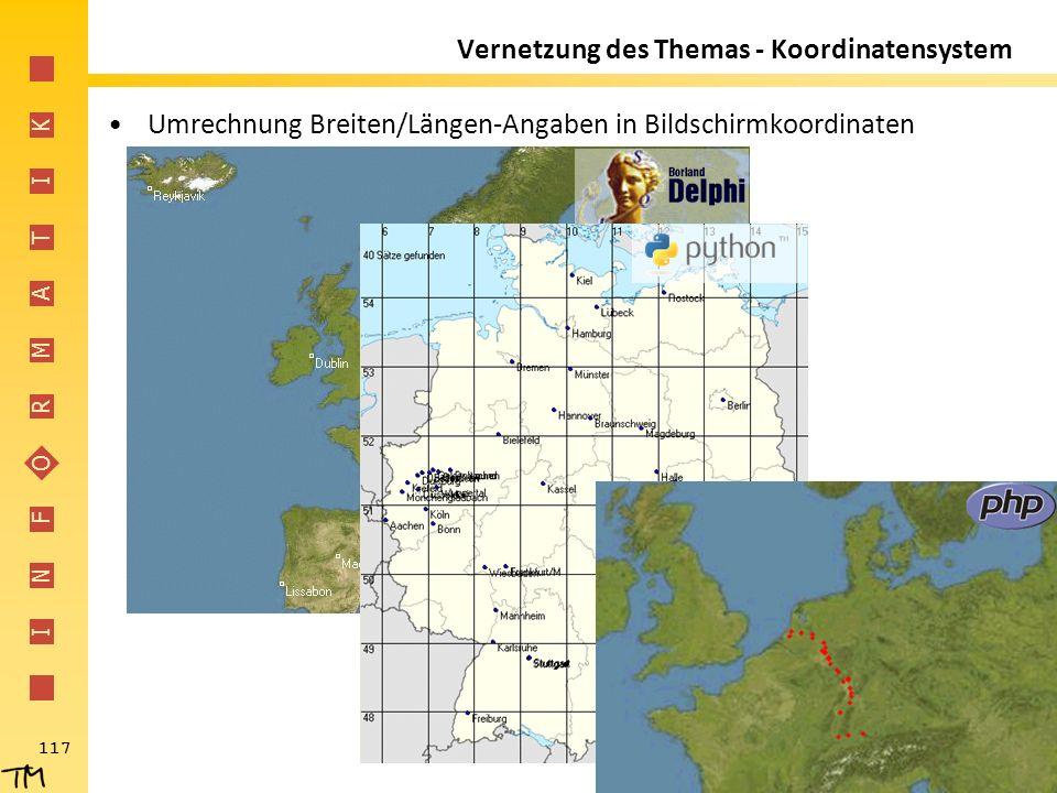 I N F O R M A T I K 117 Vernetzung des Themas - Koordinatensystem Umrechnung Breiten/Längen-Angaben in Bildschirmkoordinaten