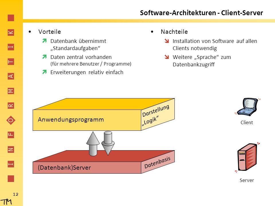 """I N F O R M A T I K 12 (Datenbank)Server Datenbasis Software-Architekturen - Client-Server Vorteile  Datenbank übernimmt """"Standardaufgaben""""  Daten z"""