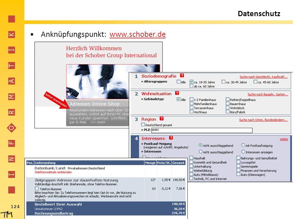 I N F O R M A T I K 124 Datenschutz Anknüpfungspunkt: www.schober.dewww.schober.de