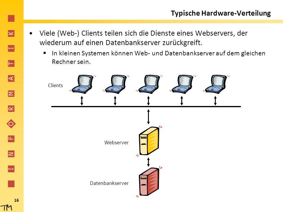 I N F O R M A T I K 16 Typische Hardware-Verteilung Viele (Web-) Clients teilen sich die Dienste eines Webservers, der wiederum auf einen Datenbankser