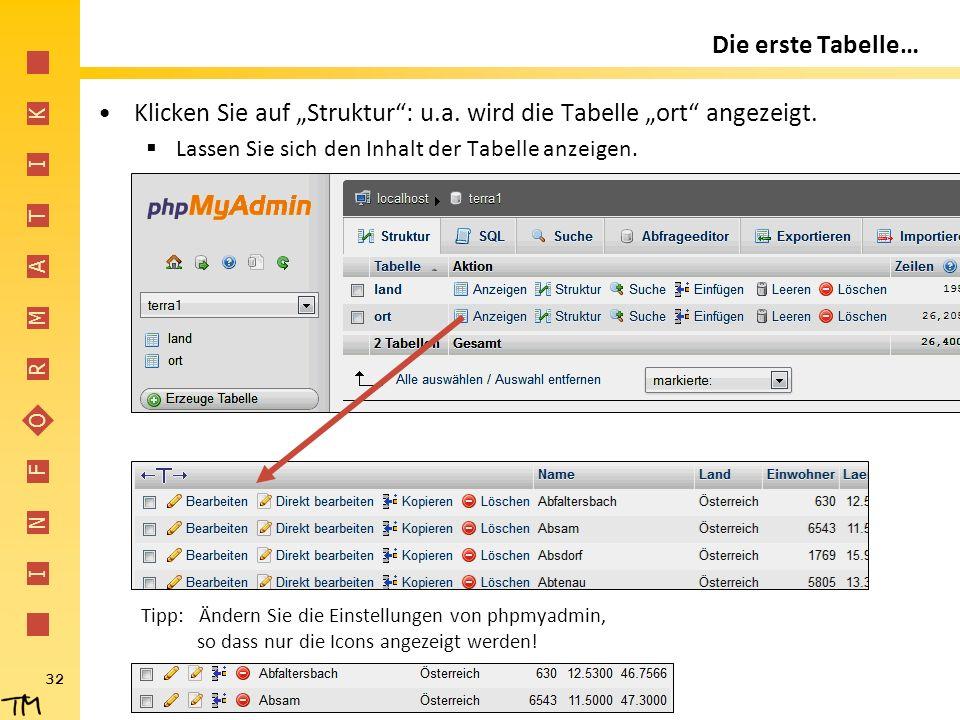 """I N F O R M A T I K 32 Die erste Tabelle… Klicken Sie auf """"Struktur"""": u.a. wird die Tabelle """"ort"""" angezeigt.  Lassen Sie sich den Inhalt der Tabelle"""