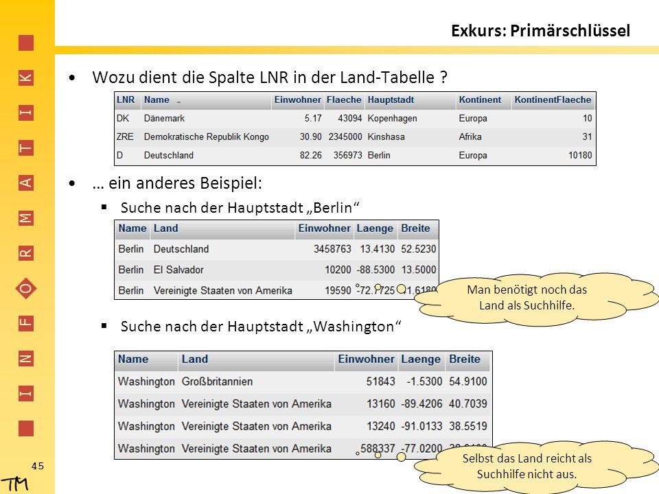 """I N F O R M A T I K 45 Wozu dient die Spalte LNR in der Land-Tabelle ? … ein anderes Beispiel:  Suche nach der Hauptstadt """"Berlin""""  Suche nach der H"""